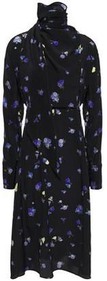 Jason Wu Draped Floral-print Silk Crepe De Chine Turtleneck Dress