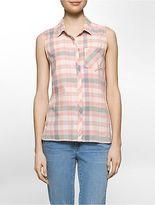 Calvin Klein Womens Summer Plaid Sleeveless Top