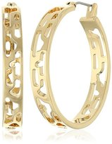 "Diane von Furstenberg Caribbean Coral"" Geometric Cut-Out Hoop Earrings"