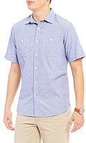 Daniel Cremieux Big & Tall Solid Slub Poplin Short-Sleeve Woven Shirt