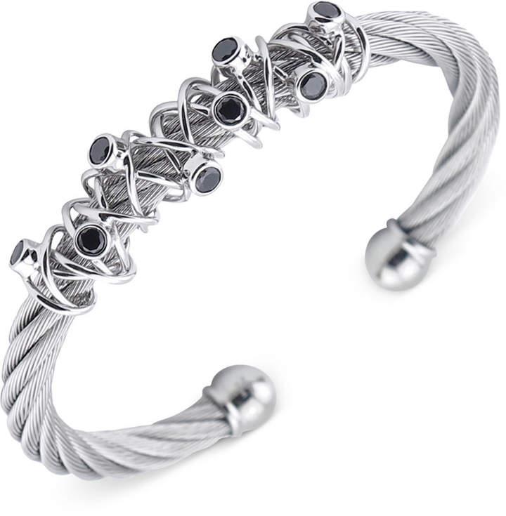 Charriol Women's Silver-Tone Black Spinel Cable Bangle Bracelet