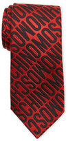 Moschino Red & Black Logo Silk Tie