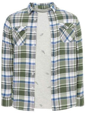 George Green Check Shirt and Grey Feather Print T-Shirt Set