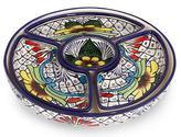 Fair Trade Mexican Floral Ceramic Platter Canape Serveware, 'Daisy Stars'