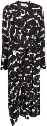 Christian Wijnants Abstract-Print Tie-Waist Crepe Midi Dress