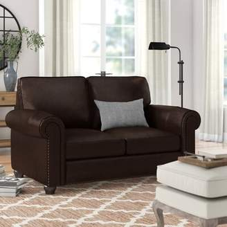 Three Posts Tawanda Craft Leather Loveseat Upholstery Color: Ivory White