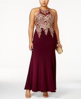 Xscape Evenings Plus Size Embroidered Mesh Mermaid Gown