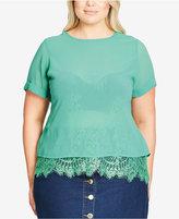 City Chic Trendy Plus Size Lace-Trim Chiffon Top