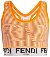 Fendi Striped logo-print performance bra