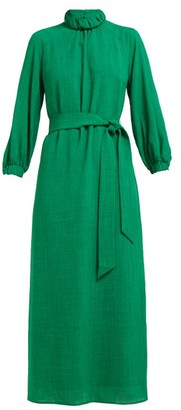 Cefinn - Tie-waist High-neck Voile Midi Dress - Womens - Green