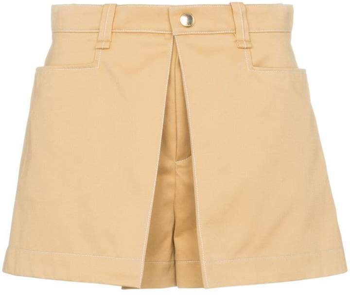 Chloé Beige darted high-waisted shorts