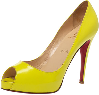 Christian Louboutin Neon Yellow Patent Leather Very Prive Peep Toe Pumps Size 40