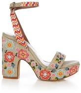 Tabitha Simmons Calla linen embroidered platform sandals