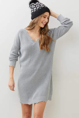 Fate By Lfd Fate by LFD Grey Distressed Sweater Dress Grey XS
