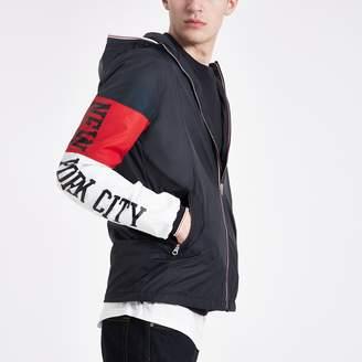 Schott Mens River Island Navy block hooded jacket