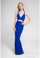Terani Prom - Deep V-neckline Illusion Chain Beaded Prom Dress 1711P2350