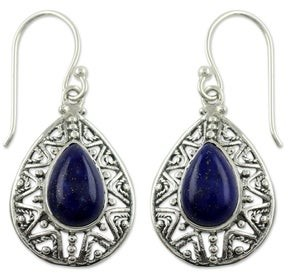 Novica Lapis Lazuli Dangle Earrings, 'Timeless Ganges'