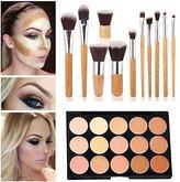 Mefeir 15 Colors Concealer Camouflage Makeup Palette Contour Face Contouring Kit +11 Pcs Makeup Brush