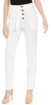 INC International Concepts Inc Paperbag Tapered Linen-Blend Ankle Pants, Created for Macy's