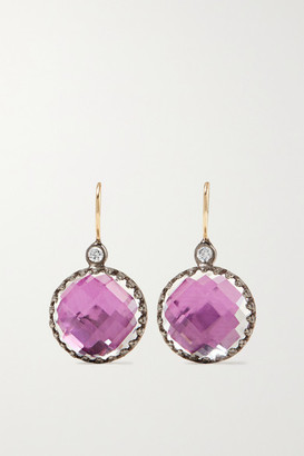Larkspur & Hawk Olivia Button Small Rhodium-dipped, Quartz And Diamond Earrings - Gunmetal