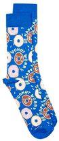 Topman Blue Doughnut Worry Slogan Socks
