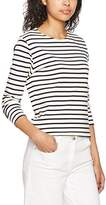 Armor Lux 73998, Women's T-Shirt, Beige (Nature / Marine Deep), (Size Manufacturer: 4)