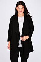 Yours Clothing Black Crepe Longline Waterfall Jacket