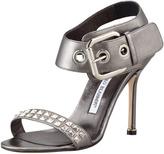 Manolo Blahnik Koyru Studded Ankle-Wrap Sandal, Anthracite
