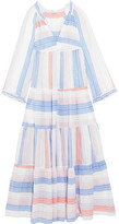 Stella McCartney Tiered Striped Cotton-blend Maxi Dress - Ivory