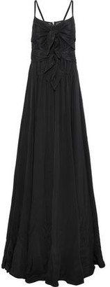 Derek Lam Mesh-paneled Knotted Silk Gown