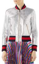 Gucci Crackle Leather Bomber Jacket, Silver