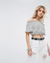 boohoo Cropped Bardot Top