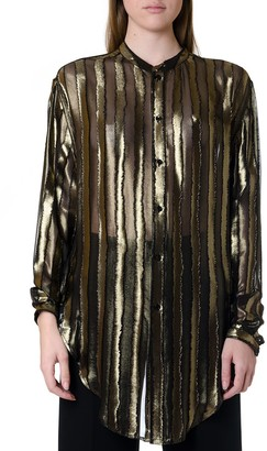 Saint Laurent Silk Blend Striped Oversized Blouse