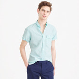 J.Crew Tall short-sleeve shirt in striped Irish cotton-linen