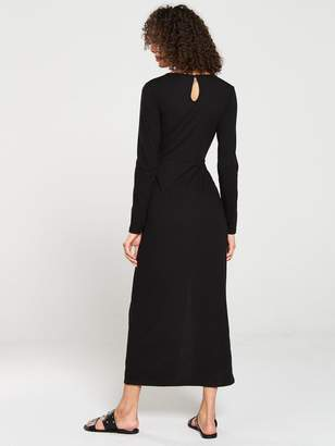 Very Midaxi Knot Detail Ribbed Dress - Black