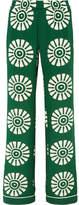 Valentino Printed Silk Wide-leg Pants - Army green