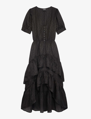 The Kooples Ruffle-tiered silk-crepe dress