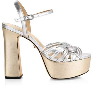 Schutz Anselma Metallic Leather Platform Sandals