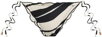 Vix Paula Hermanny Ruffle-trimmed Striped Low-rise Bikini Briefs