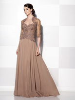 Cameron Blake - Lace Quarter Length Sleeves A Line Gown 215639