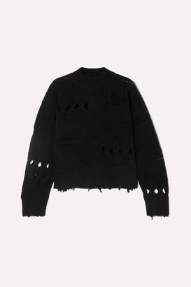 Versace Distressed Wool Sweater - Black