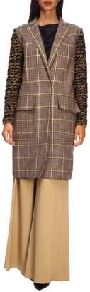 M Missoni Coat Mélange Knit Coat With Pied De Poule Pattern