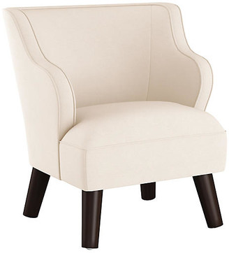One Kings Lane Kira Kids' Accent Chair - Talc Linen - frame, espresso; upholstery, talc