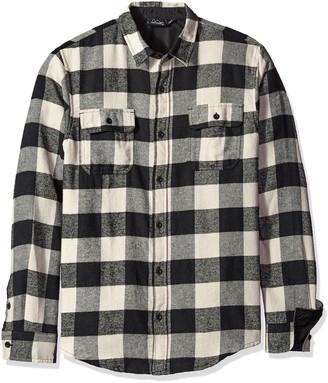 Burnside Men's Vector Buffalo Long Sleeve Button Down Solid Flannel Shirt