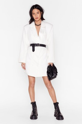 Nasty Gal Womens Blazer Mini Dress with Plunging V-Neckline - White