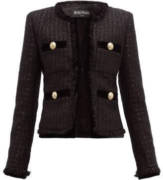 Balmain Velvet Trim Metallic Tweed Jacket - Womens - Black Multi