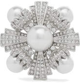 Kenneth Jay Lane Rhodium-plated, Faux Pearl And Crystal Brooch - Silver
