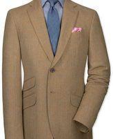 Charles Tyrwhitt Classic fit tan check luxury border tweed jacket