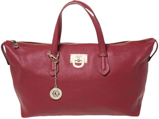 DKNY Red Leather Top Zip Tote