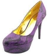 Thalia Sodi Isabel Women Open Toe Canvas Purple Platform Heel.